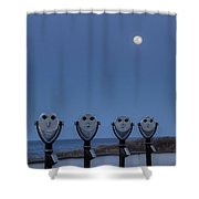 Hey Take Our Picture Infront Of The Moon Shower Curtain