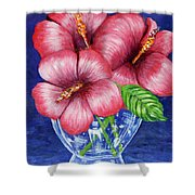 Hibiscus In Glass Vase Shower Curtain