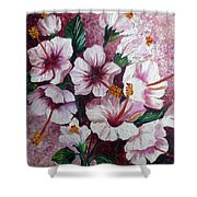 Hibiscus Pink 3  Shower Curtain