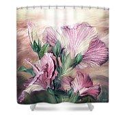 Hibiscus Sky - Pastel Pink Tones Shower Curtain