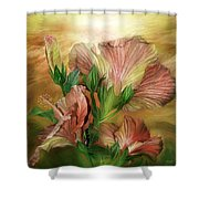 Hibiscus Sky - Peach And Yellow Tones Shower Curtain