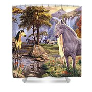 Hidden Images - Horses Shower Curtain by Steve Read