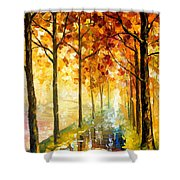 Hidden Path - Palette Knife Oil Painting On Canvas By Leonid Afremov Shower Curtain