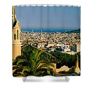 High Angle View Of A City, Barcelona Shower Curtain
