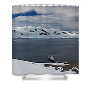 High Angle View Of A Harbor, Neko Shower Curtain