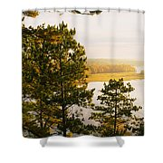 High Angle View Of A River, Ausable Shower Curtain