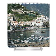 High Angle View Of A Town, Amalfi Shower Curtain