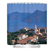 High Angle View Of A Town At The Coast Shower Curtain