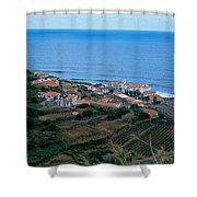 High Angle View Of Houses At A Coast Shower Curtain
