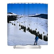 High Angle View Of Skiers Skiing, Vail Shower Curtain