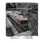 High Line Benches Black And White Shower Curtain