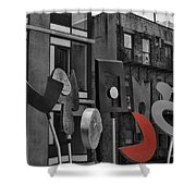 High Line Joy Black And White Shower Curtain