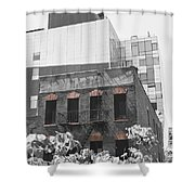 High Line View Of Architecture Black And White Shower Curtain