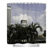 High Rise Buildings Behind Trees Along With Construction Work In Singapore Shower Curtain