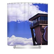 High Section View Of Railroad Tower Shower Curtain