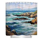 High Surf Asilomar Beach Shower Curtain