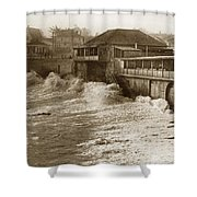High Tide And Big Waves At Lovers Point Beach Pacific Grove California Circa 1907 Shower Curtain
