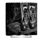 High Top Shoes - Bw Shower Curtain