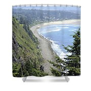 High View Of Oregon Coast Shower Curtain