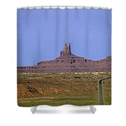 Highway 163 Leading Into Monument Valley With Rock Formations In Shower Curtain