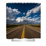 Highway Life - Blue Sky Down The Road In Oklahoma Shower Curtain