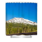 Highway Passing By Mountain Shower Curtain
