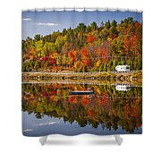 Highway Through Fall Forest Shower Curtain