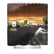 Highway Truck Stop Sunset Panorama Shower Curtain