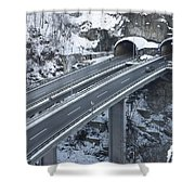 Higway Tunnel With A Bridge Shower Curtain