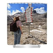 Hiker And Directions Shower Curtain