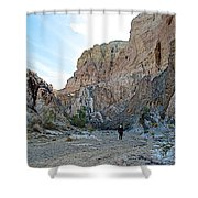 Hiker In Big Painted Canyons Trail In Mecca Hills-ca Shower Curtain