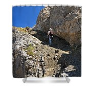 hiker in Dolomites Shower Curtain