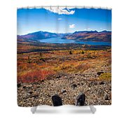 Hiker In Fall-colored Tundra Shower Curtain