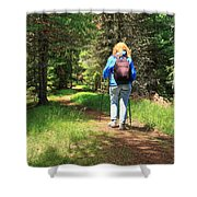 Hiker In The Forest Shower Curtain