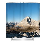 Hiker Looking Over Royce Lakes Shower Curtain