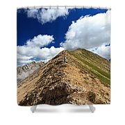 Hiker On Mountain Ridge Shower Curtain