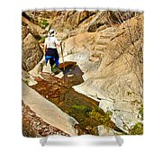 Hiker On Window Trail In Chisos Basin In Big Bend National Park-texas   Shower Curtain