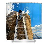 Hiker On Wooden Staircase Shower Curtain