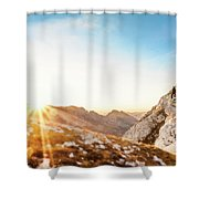 Hiker Standing On Rock Formation Shower Curtain