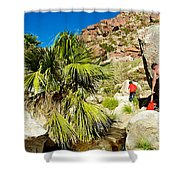 Hikers At Oasis On Borrego Palm Canyon Trail In Anza-borrego Desert Sp-ca  Shower Curtain
