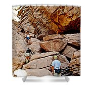 Hikers Enter Ladder Canyon From Big Painted Canyons Trail In Mecca Hills-ca  Shower Curtain