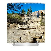 Hikers On Sentinel Dome Trail In Yosemite Np-ca  Shower Curtain