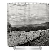 Hikers Standing On The Rocks, Gertrudes Shower Curtain