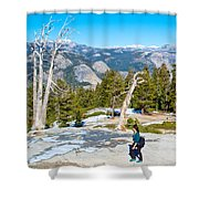 Hiking On Barren Rock On Sentinel Dome In Yosemite Np-ca Shower Curtain