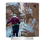 Hiking Through Narrow Slot Of Ladder Canyon Trail In Mecca Hills-ca Shower Curtain
