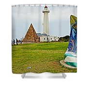 Hill Lighthouse Built In 1861 And Donkin Memorial Pyramid Honoring The Wife Of Sir Rufus Donkin-sout Shower Curtain