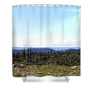 Hill View - Summer - Berry Picking Barrens Shower Curtain