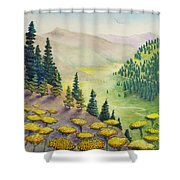 Hillside Of Yarrow Flowers With Pine Tress Shower Curtain
