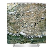 Himalaya Mountains Asia True Colour Satellite Image  Shower Curtain