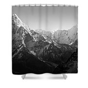 Himalaya Mountains Black And White Shower Curtain